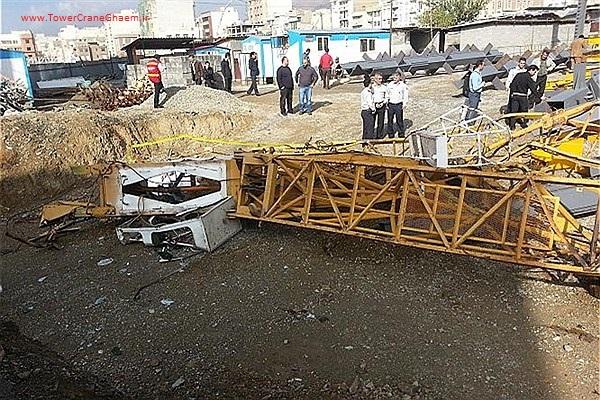 سقوط تاور کرین در بزرگراه نیایش تهران